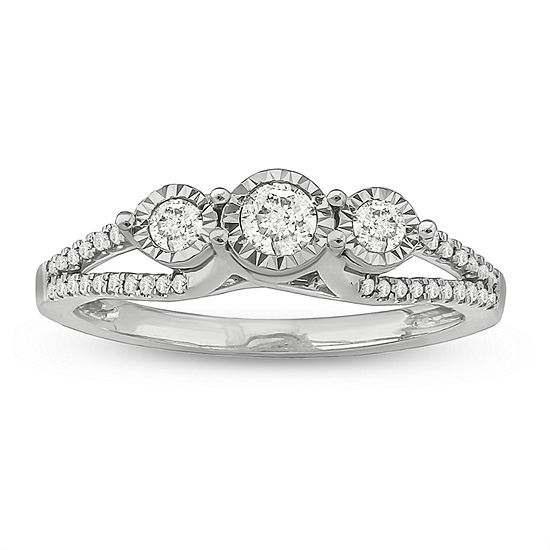 Love Lives Forever Womens 1/3 CT. T.W. Genuine White Diamond Sterling Silver 3-Stone Engagement Ring