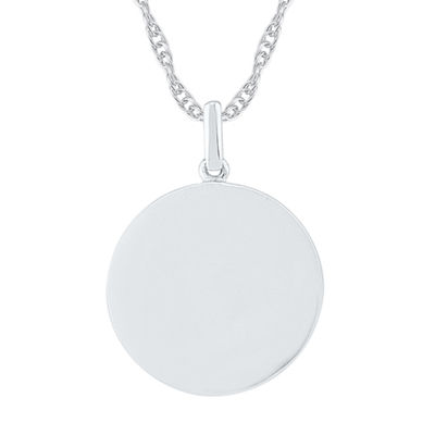 Womens 10K White Gold Round Pendant Necklace