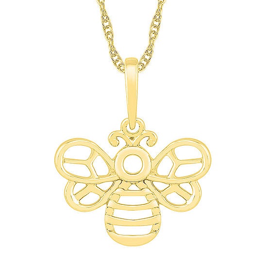 Womens 10K Gold Butterfly Pendant Necklace