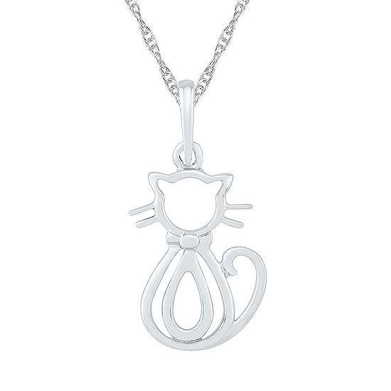 Womens 10K White Gold Pendant Necklace