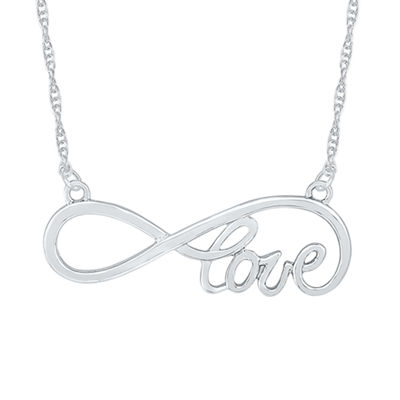 Womens 10K White Gold Infinity Pendant Necklace
