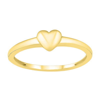 Womens 4.5mm 10K Gold Heart Band