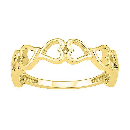 4.5MM 10K Gold Heart Band