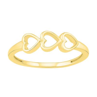Womens 4.5mm 10K Gold Heart Band