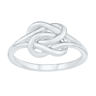 Womens 8.5mm 10K White Gold Knot Band