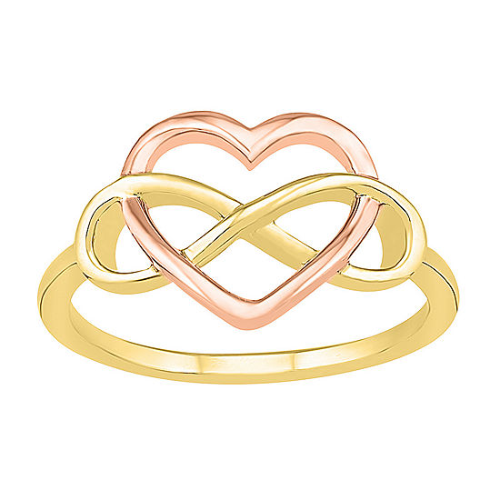 Womens 11mm 10K Two Tone Gold Heart Band