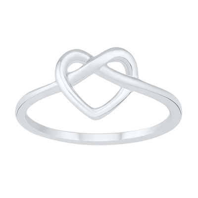 Womens 8.5mm 10K White Gold Heart Band