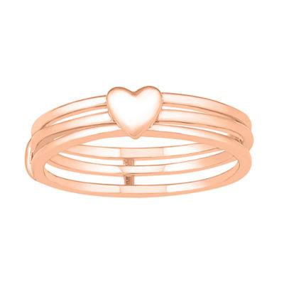 Womens 4.5mm 10K Rose Gold Heart Band