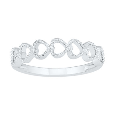 Womens 4mm 10K White Gold Heart Band