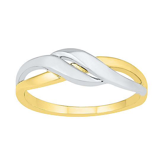 6MM 10K Two Tone Gold Round Band