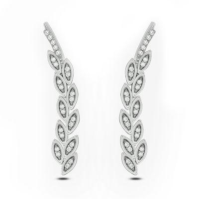 1/10 CT. T.W. White Diamond Sterling Silver Ear Climbers