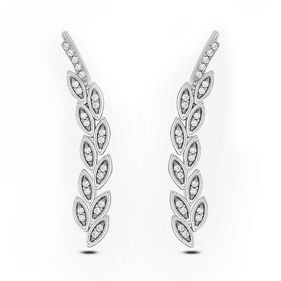1/10 CT. T.W. White Diamond Sterling Silver Ear Climbers