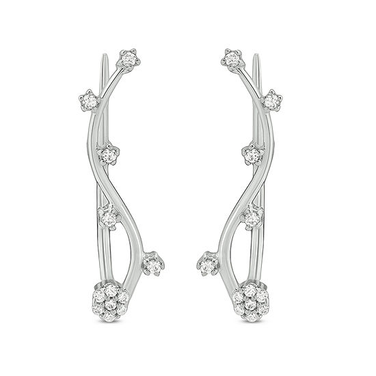 1/6 CT. T.W. White Diamond Sterling Silver Ear Climbers