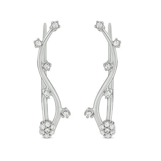 1/6 CT. T.W. White Diamond Sterling Silver Ear Climbers