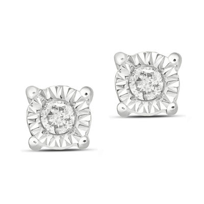 Diamond Accent White Diamond Sterling Silver 4.1mm Stud Earrings