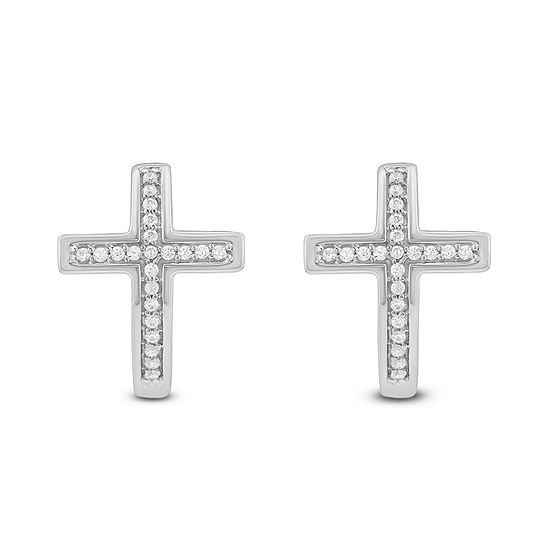 1/6 CT. T.W. White Diamond Sterling Silver 13.4mm Stud Earrings