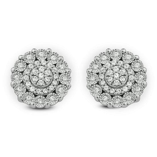 1/10 CT. T.W. White Diamond Sterling Silver 8.5mm Stud Earrings