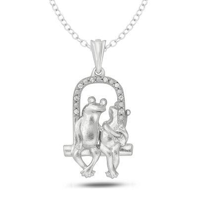 Womens Diamond Accent White Diamond Sterling Silver Pendant Necklace