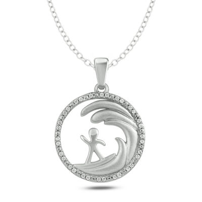 Womens 1/10 CT. T.W. White Diamond Sterling Silver Pendant Necklace