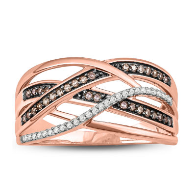 Womens 1/4 CT. T.W. Multi Color Diamond 14K Rose Gold Over Silver Band