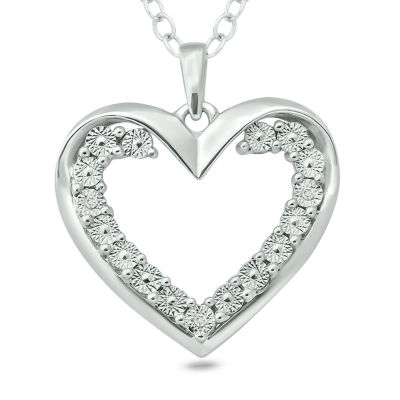 Womens Diamond Accent White Diamond Sterling Silver Heart Pendant Necklace