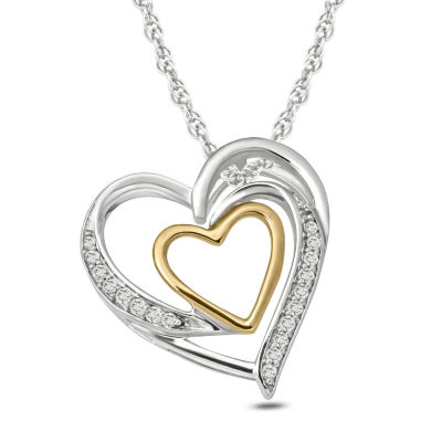 Womens Diamond Accent White Diamond 14K Gold Over Silver Sterling Silver Heart Pendant Necklace