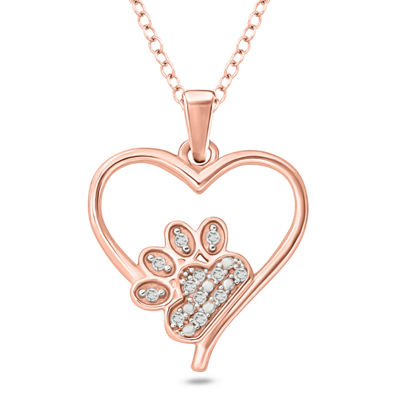Womens Diamond Accent White Diamond 14K Rose Gold Over Silver Heart Pendant Necklace