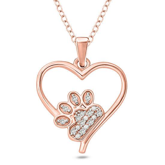 Womens Diamond Accent White Diamond 14K Rose Gold Over Silver Heart Pendant Necklace