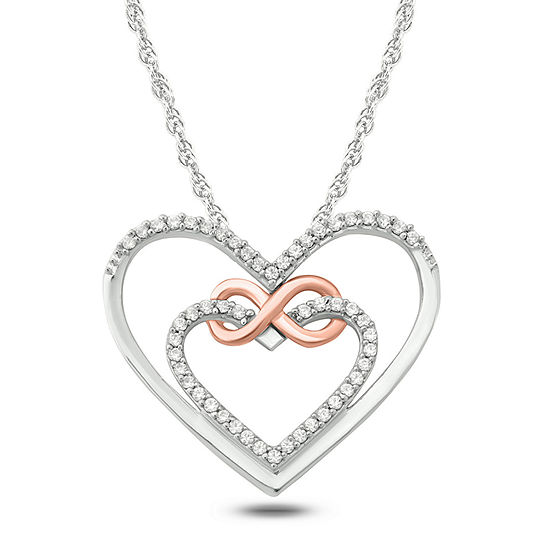 Womens 1/10 CT. T.W. White Diamond 14K Rose Gold Over Silver Sterling Silver Heart Pendant Necklace