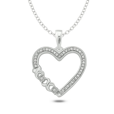Womens 1/10 CT. T.W. White Diamond Sterling Silver Heart Pendant Necklace