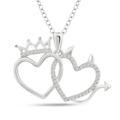 Womens 1/6 CT. T.W. White Diamond Heart Pendant Necklace