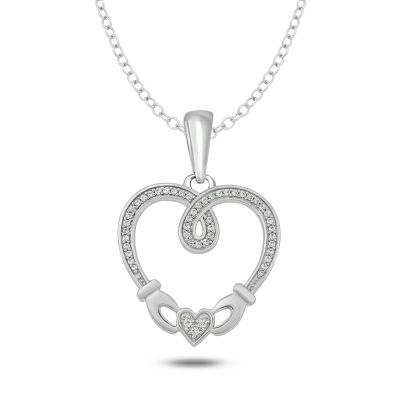 Womens 1/6 CT. T.W. White Diamond Sterling Silver Heart Pendant Necklace