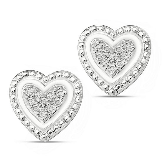 Diamond Accent White Diamond Sterling Silver 72mm Heart Stud Earrings
