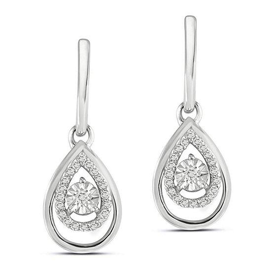 1/6 CT. T.W. White Diamond Sterling Silver 21.5mm Stud Earrings