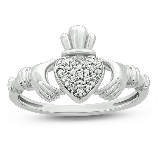 Womens Diamond Accent Genuine White Diamond Sterling Silver Claddagh Claddagh Promise Ring