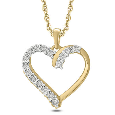Womens Diamond Accent White Diamond 14K Gold Over Silver Heart Pendant Necklace