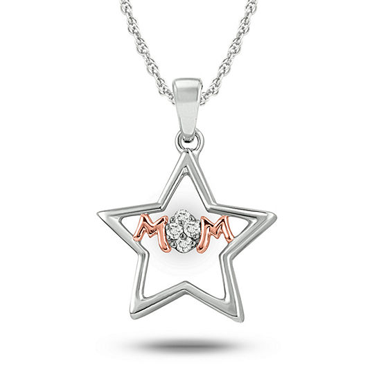 Womens Diamond Accent White Diamond 14K Rose Gold Over Silver Sterling Silver Star Pendant Necklace