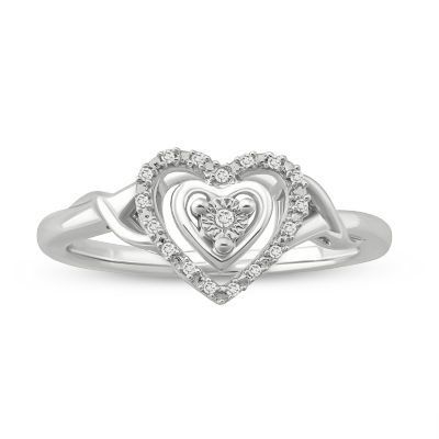 Womens Diamond Accent White Diamond Sterling Silver Heart Promise Ring