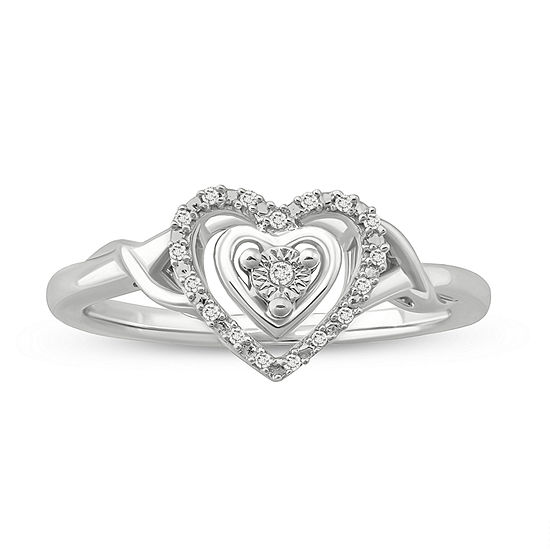 Womens Diamond Accent White Diamond Sterling Silver Heart Engagement Ring
