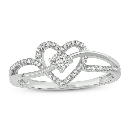 Womens 1/10 CT. T.W. White Diamond Sterling Silver Heart Promise Ring