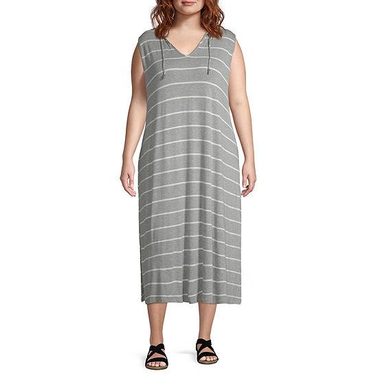 b2004395b0 Porto Cruz Striped Knit Swimsuit Cover-Up Dress-Plus - JCPenney
