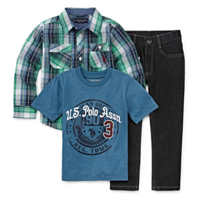 U.S. Polo Assn. 3-pc. Checked Pant Set Boys