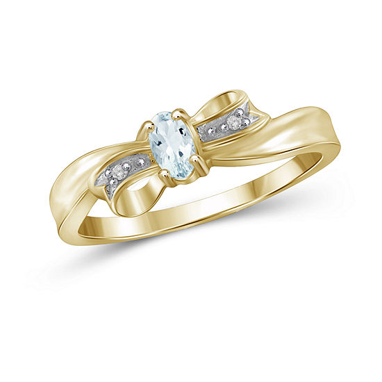 Womens Diamond Accent Genuine Blue Aquamarine 14K Gold Over Silver Delicate Cocktail Ring