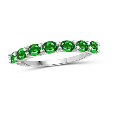 Womens Green Chrome Diopside Sterling Silver Side Stone Cocktail Ring