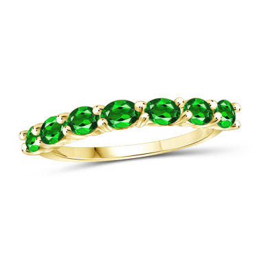 Womens Green Chrome Diopside 14K Gold Over Silver Side Stone Cocktail Ring