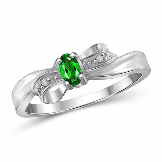 Womens Diamond Accent Genuine Green Chrome Diopside Sterling Silver Delicate Cocktail Ring