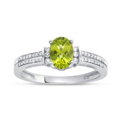 Womens Genuine Peridot & 1/10 CT. T.W. Diamond 10K Gold Cocktail Ring