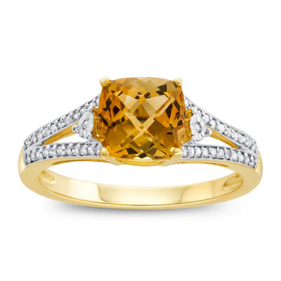 Womens Genuine Citrine & 1/10 CT. T.W. Diamond 10K Gold Cocktail Ring