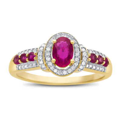 Womens Lead Glass Filled Ruby & 1/10 CT. T.W. Diamond 10K Gold Cocktail Ring