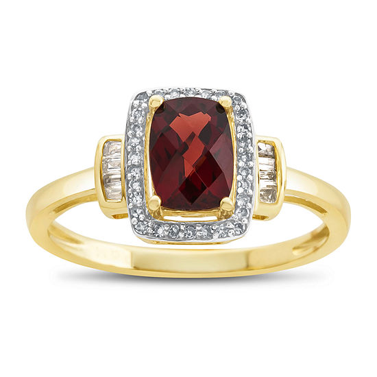 Womens Genuine Garnet & 1/8 CT. T.W. Diamonds 10K Gold Cocktail Ring